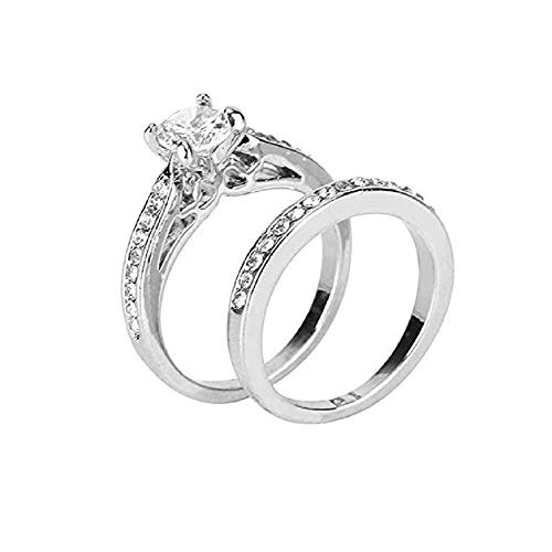 2019 New Couple Ring Fashion Women's Assembly Silver Plated Love Anniversary Promise Wedding Engagement Ring by FAVOT (6, Silver)