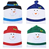 VALORCASA Christmas Snowman Chair Covers Set of 4,Novelty Party Holiday Dining Chair Slipcovers for Kitchen,Bar or Restaurant,23'(H) 20'(W)