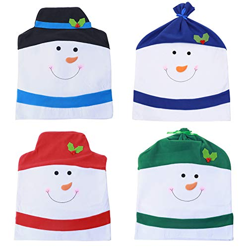 VALORCASA Christmas Snowman Chair Covers Set of 4,Novelty Party Holiday Dining Chair Slipcovers for Kitchen,Bar or Restaurant,23″(H) 20″(W)