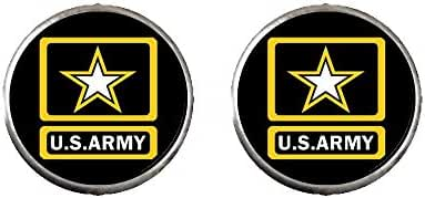 GiftJewelryShop Silver Plated Character Army Photo Stud Earrings 10mm Diameter