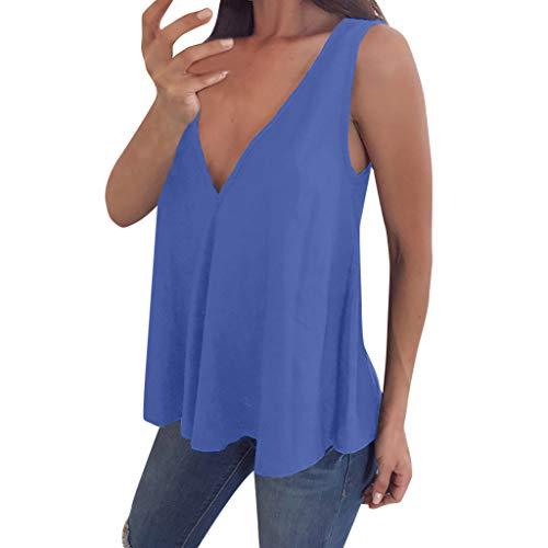 Yucode Women Solid V Neck Sleeveless Tank Tops Casua Loose Plus Size Blouse Sexy Summer Deep V Vest Blue ()