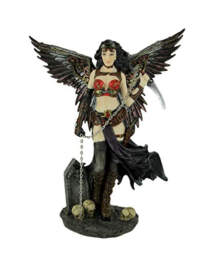 Veronese Resin Statues Super Sexy Steampunk Style Gothic Dark Angel Statue 7 X 8.5 X 4.5 Inches Multicolored