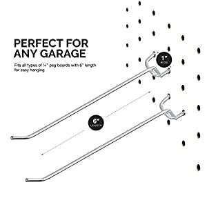 Neiko 53102A 6-Inch Pegboard Hooks and Organizer Assortment | 50-Piece Value Pack
