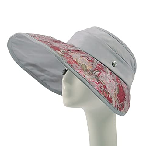 Hyun times Hat woman summer big along the sun anti-UV empty top outdoor ride lace flowers folding beach sunscreen ( Color : Gray (The Middle Season 1 2 3 4)