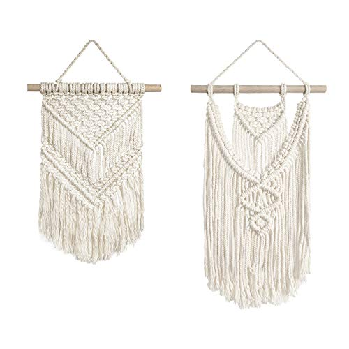 TIMEYARD 2 Pcs Macrame Wall Hanging Small Art Woven Tapestry Boho Chic Home Decor Apartment Dorm Room Decoration ()