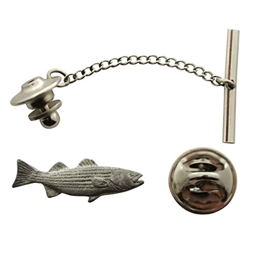 (Striped Bass Tie Tack ~ Antiqued Pewter ~ Tie Tack or Pin ~ Sarah's Treats & Treasures)