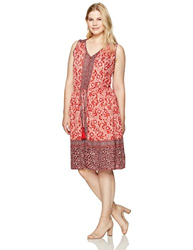 Boho-Chic Vacation & Fall Looks - Standard & Plus Size Styless - Lucky Brand Women's Plus Size Border Print Midi Dress, Red Print, 2X