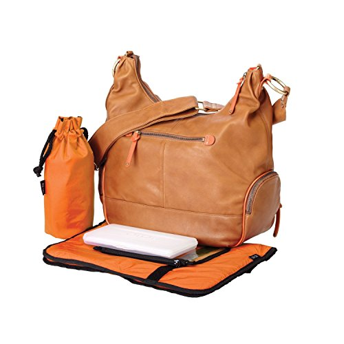 OiOi Leather Hobo Diaper Bag - Tan & Orange by OiOi