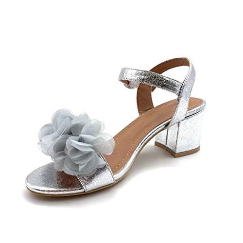 Basique Femme Bloc Mode Fleurs Argent Sandale Chaussure Angkorly Talon Cm Escarpin Ouverte 7 Haut Confortable Simple Soirée x0qF8vO8n