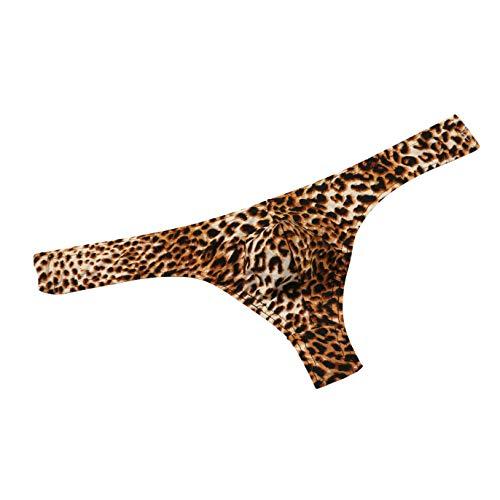 MuscleMate Hot Men's Leopard Print Thong G-String Underwear, Men's Leopard Print Thong Undie. (L, ()