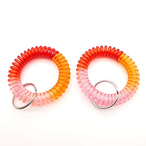 (Spring Spiral Wrist Coil Key Chain 3 Color Plastic Band Ring (KP-2))