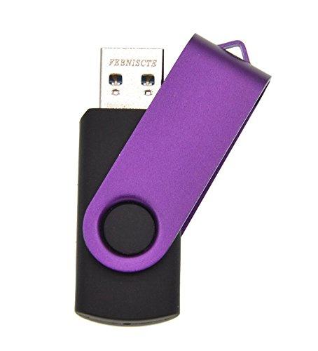 FEBNISCTE Purple Swivel Flash Drive 32GB USB 3.0 Memory Stick U Disk