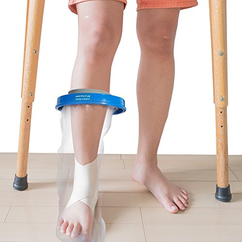 Half Leg Waterproof Cast - Adult Leg Cast Cover with Waterproof Seal Protection. Keep Casts & Bandages Totally Dry for Shower, Bathing Or Swimming. Heavy Duty Vinyl is Durable Yet Lightweight and Reusable. (Adult Leg Half)
