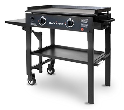 Blackstone 28 inch Outdoor Flat Top Gas Grill Griddle Station - 2-burner - Propane Fueled - Restaurant Grade - Professional Quality (Set Patio Top Stone)