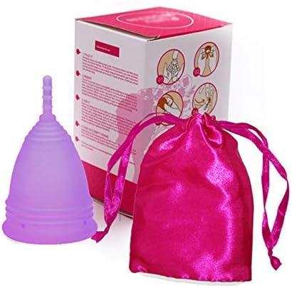 Almohadillas reutilizables orgánicas de silicona de la Copa menstrual plegable orgánica con bolsa de almacenamiento lavable - Morado