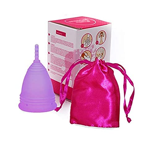 Purple Menstrual Cup in Organic Silicone,eco Cups for Period,Replacement of Sanitary Pads Or Tampons Reusable with Washable Storage Kit