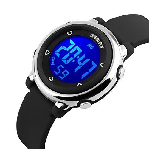 USWAT® Children Digital Watch Outdoor Sports Watches Boy Kids Girls LED Alarm Stopwatch Dress Wristwatches Black