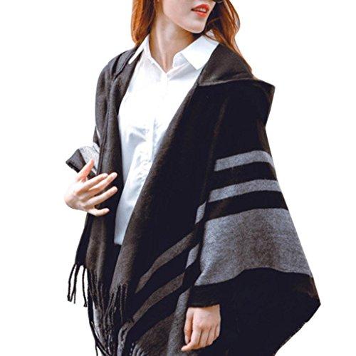 - Women's Oversized Blanket Poncho Cape Shawl Stripes Cardigan Coat Hoodie with Tassel (Black)