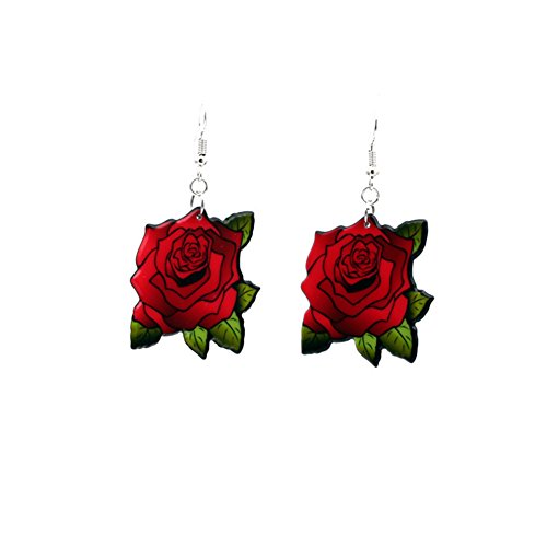 - Sterling Silver Plated Vintage Green Leaf Red Rose Charm Drop Dangle Earrings