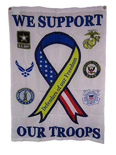 - ALBATROS 28 in x 40 in We Support Our Troops Military Defenders of Freedom Vertical Banner Flag for Home and Parades, Official Party, All Weather Indoors Outdoors