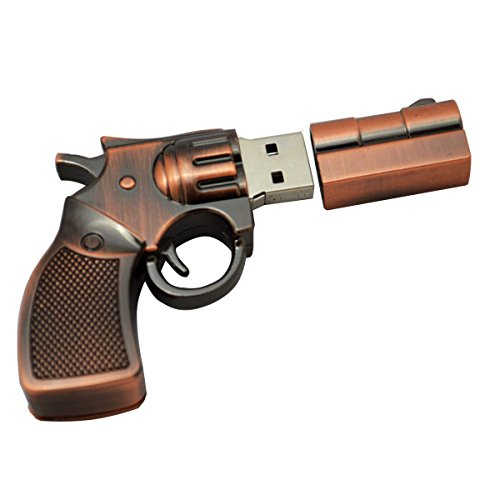 WooTeck 64GB Metal Revolver Pistol Gun Shape USB Flash Drive Pen Drive Memory Stick