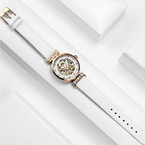 (Watch Industrial Women Gold Tone Case, Gear Hollow Dial, Ladies Mechanical with Leather Strap, with Leather Strap, 50M Waterproof Analog Girl Wrist (Color : White) )