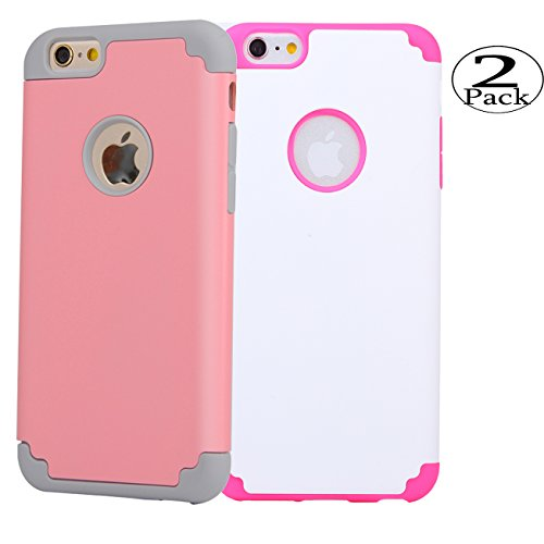 iPhone 6/6s Plus Case,[2 Pack] iBarbe 2 in 1 Hybrid Heavy Duty Soft Rubber PC Shockproof Protective cover Case with Dual Layer Scratch Resistant Bumper for iPhone 6/6s Plus (5.5 inch) phone-Pink+White
