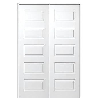 National Door Company Z020029BA Solid Core Molded 5-Panel Primed Both Active Prehung Interior