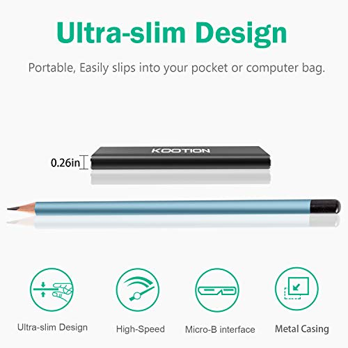 KOOTION 60GB Portable External SSD USB 3.0 High Speed Read & Write up to 400MB/s&300MB/s External Storage Ultra-Slim Solid State Drive for PC, Desktop, Laptop, MacBook by KOOTION (Image #5)