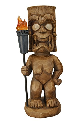 Moonrays 95960 Hand Painted Tiki Themed Outdoor Solar Light Garden Gnome, Tiki Warrior, Wood Carved with LED Illuminated Eyes and Torch, Pre Charged Battery Included, Measures 18.5 Inches]()