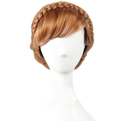 Angelaicos Womens Braids Updo Style Lolita Harajuku Cute Cosplay Wig Short Brown