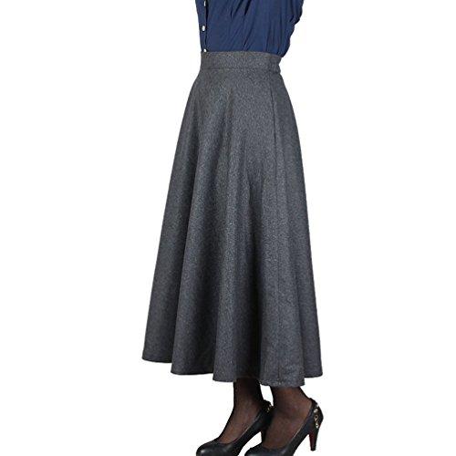 NiSeng Femme lgante Jupe Irrgulire pour Automne pour Treillis Jupe de Fonc Hiver et Gris Maxi Longues UUrwqxd5