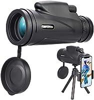 Jinhuaxin Monocular Telescope, HD 12 x 50 Monocular, Waterproof Monocular Telescope with Smartphone Adapter Tripod, for...