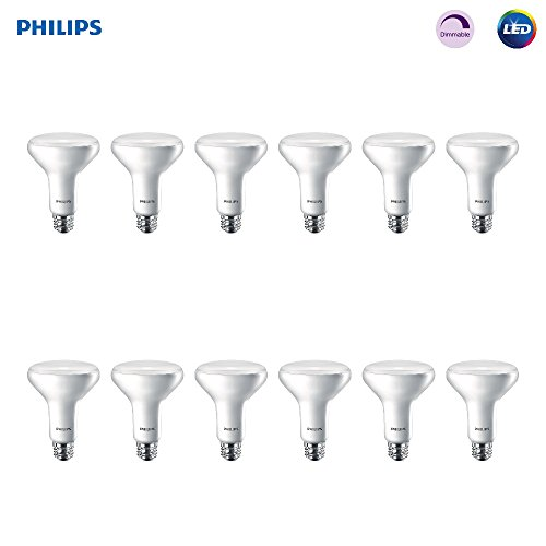 Philips 474312 LED BR30 Dimmable 650-Lumen, 2700-Kelvin, 11 (65-Watt Equivalent) Flood Light Bulb with E26 Medium Base, Soft White, 12-Pack, 2700K, -