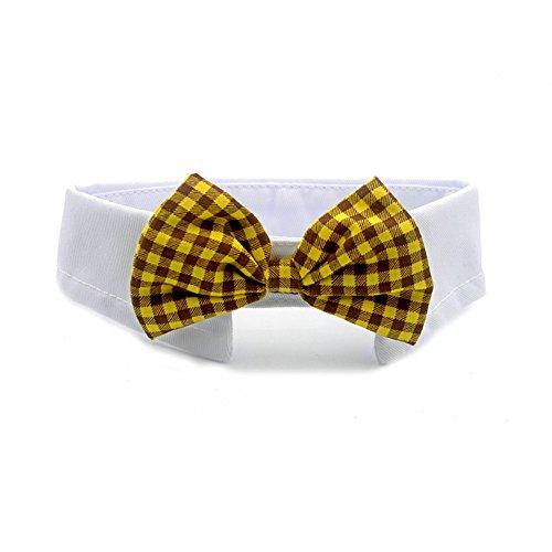 Vevins Pet Dog Cat Stripe Bow Tie Cotton Collar Christmas Halloween Costume, Yellow/Brown