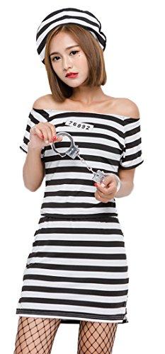 Prisoner Costume Female (Mumentfienlis Womens Criminal Costume Halloween Prisoner Costume Size M)