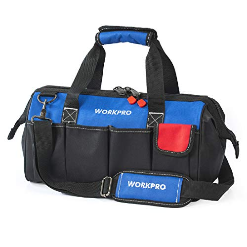 WORKPRO 18-inch Close Top Wide Mouth Storage Tool Bag with Adjustable Shoulder Strap, Sturdy Bottom