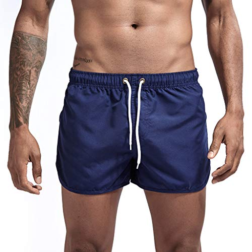 DIOMOR Mens Fashion Floral Drawstring Swim Trunks Outdoor Elastic Waist Slim Fit Beach Shorts Quick Dry Bathing Suits