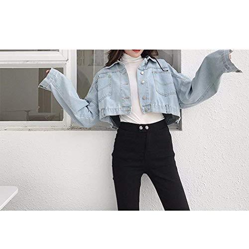Eleganti Caftano Donna Primaverile Giovane Blu Hellblau Cappotto Casuale Corto Libero Jeans Donne Autunno Ragazze Relaxed Battercake Moda Tempo Giacche Tendenza Giacca wtEfqqO