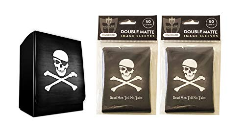 Pirate Design Deck Box + 100 Double Matte Sleeves (fits MTG, Pokemon, Force of Will Cards) ()