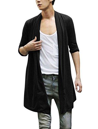 [해외]알레그라 K 남성 숄 칼라 하이 로우 헴 롱 카디 건 블랙 XL/Allegra K Men Shawl Collar High-Low Hem Long Cardigan Black XL