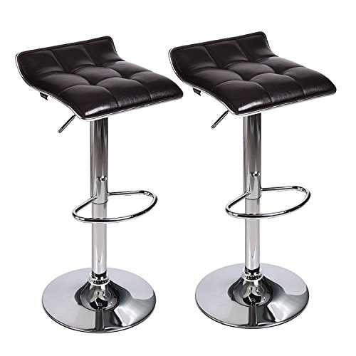 PULUOMIS Adjustable Swivel Barstools, PU Leather with Chrome Base, Counter Height Hydraulic Pub Chairs, Set of 2, Dark Brown (Bar Base)