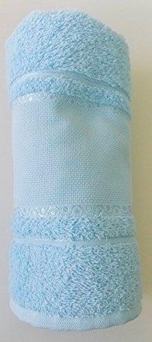 Toalla de ducha color Azul claro con Aida cenefa para bordado en punto de cruz gezählten: Amazon.es: Hogar