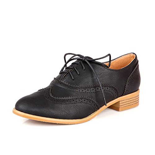 T-july Womens Wingtip Oxfords Shoes - Scarpe Retrò Vintage Tacco Basso A Punta Tacco Basso Nere