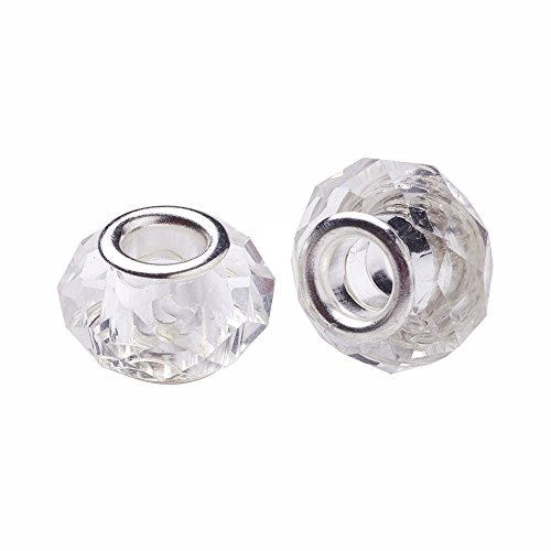 2 Crystal Slider Hole - Pandahall 100pcs Glass European Beads Large Hole Beads Round Faceted Rondelle Imitation Austrian Slide Charms with Metal Core for Bracelet Jewelry Makings 14mm Clear