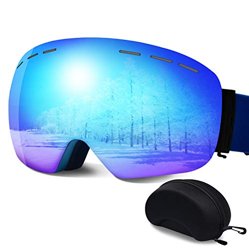 ERUW Ski Goggles - OTG Frameless Snowboard Goggles with Anti-Fog UV Protection of Double Lens Compatible Windproof Helmet for Snowmobile & Skiing & Skating Snow Goggles