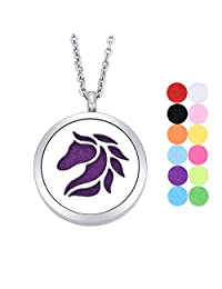 Essential Oil Diffuser Necklace Aromatherapy Locket Stainless Steel Horse Pendant with 12 Refill Pads
