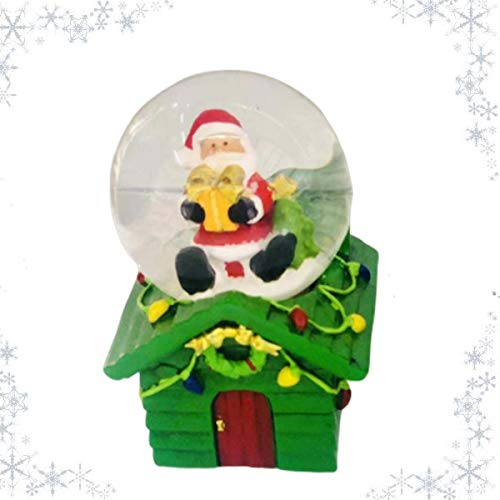 One SHATCHI Small Christmas Snow Globe Dome Mini Glass Waterball with Snowman /& Santa House Base Green Red Xmas Home Decorations 2Pcs Gift Set Red/&Green