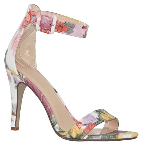 MVE Shoes Women's Single Ankle Strap-Classy Kitten Heeled Sandal, Juicy YEL/Pink 8