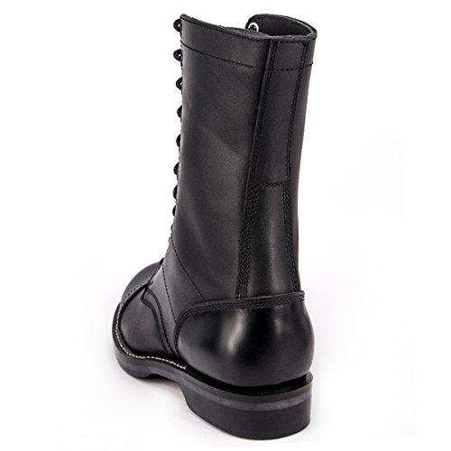 Wideway Heren Militaire Springlaarzen Lederen Gevechtslaarzen Enforcer Uniforme Werk Waterbestendige Laarzen Zwart